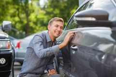 Perfect car for perfect man. Blur green backround. royalty free stock image