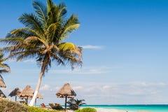 Perfect Caraïbisch strand in Tulum, Mexi royalty-vrije stock afbeeldingen