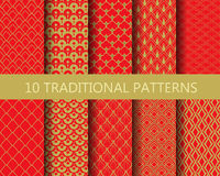 Perfect chinese pattern. 10 different traditional chinese patterns set. Endless texture can be used for wallpaper, pattern fills, web page background,surface stock illustration