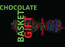 The Perfect Chocolate Gift Basket Text Background  Word Cloud Concept Stock Photography