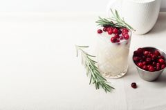 Perfect christmas cocktail: coconut margarita with cranberries and rosemary Royalty Free Stock Image