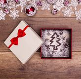 Perfect christmas gift - xmas tree drawing in present box Stock Photo