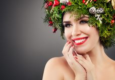 Perfect Christmas Woman Fashion Model Smiling. royalty free stock photos