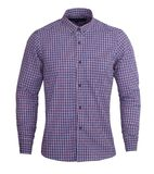 Perfect ciemne purpury i czerwony czek drukują pełnych rękawy koszulowych obraz stock