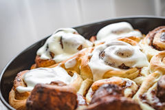 Perfect cinnamon rolls. Cinnamon rolls with cream cheese sugar glaze Stock Images