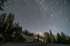A perfect circle formed by star trails royalty free stock images