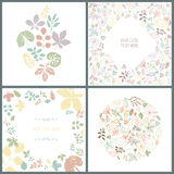 Perfect collection of 4 floral spring cards Royalty Free Stock Photo