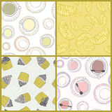 Perfect collection of 4 seamless patterns Stock Photos