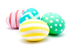 Perfect colorful handmade easter eggs isolated Stock Photos