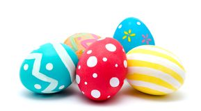 Perfect colorful handmade easter eggs isolated on a white Royalty Free Stock Image