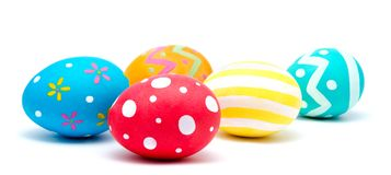 Perfect colorful handmade easter eggs isolated on a white Stock Photo