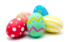 Perfect colorful handmade easter eggs isolated on a white Royalty Free Stock Photography