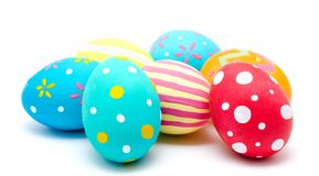 Perfect colorful handmade easter eggs isolated Royalty Free Stock Photo