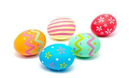 Perfect colorful handmade easter eggs isolated on a white Royalty Free Stock Images