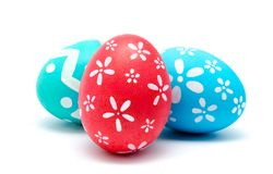 Perfect colorful handmade easter eggs isolated on a white Stock Photography