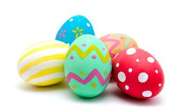 Perfect colorful handmade easter eggs isolated on a white Royalty Free Stock Photos