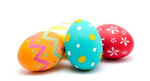 Perfect colorful handmade easter eggs  on a white Royalty Free Stock Photos