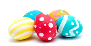 Perfect colorful handmade easter eggs  on a white Royalty Free Stock Photography