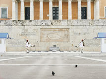 Perfect the coordination of movements during the changing of the. Athens, Greece - March 27, 2016: Perfect the coordination of movements during the changing of Stock Images