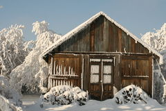 Perfect cottage for christmas. Small timber cottage seems the best for short winter holidays Royalty Free Stock Photos