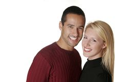 Perfect Couple. A headshot of the perfect American couple, on a white background Royalty Free Stock Image
