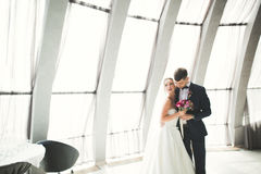 Perfect couple bride, groom posing and kissing in their wedding day Royalty Free Stock Photo