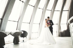 Perfect couple bride, groom posing and kissing in their wedding day Stock Photos