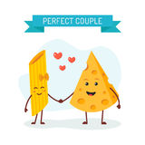 Perfect couple cheese and pasta characters stock illustration
