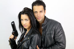 Perfect couple dressed in a black leather jacket Royalty Free Stock Photography