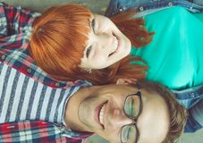 Perfect couple. Young couple fine portrait from above. concept about expression, happiness, love, couples and people Royalty Free Stock Photography