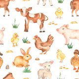 Watercolor seamless pattern with cute cartoon farm animals