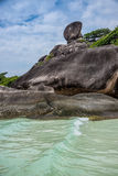 Perfect Crystal Clear Turquoise Sea and Iconic Rock at Similan island Thailand. Asia adventure. Stock Photos