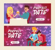 Perfect date set of banners vector illustration. People sitting in restaurant and drinking champagne. Cople drinking. Soda in 3d glasses in cinema. Watching vector illustration