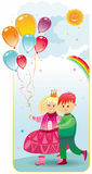Perfect day. Vector illustration of boy and girl walking together Stock Images