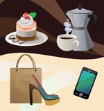 A perfect day's attributes. Vector illustration of a cake, cup of coffee, coffemaker, shoes with a shopping bag and a smartphone Royalty Free Stock Photography