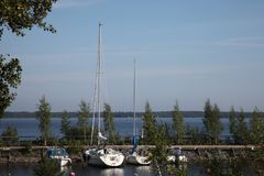 Yachts on the lake in finland royalty free stock photography