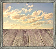 A Perfect Day in your Dreams. Digital collage technique photo composition background about heaven, peace or reflexive concepts with wooden floor in the Royalty Free Stock Photo