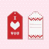 Valentine Gift Tags with heart in Red and White. Perfect for decorating wishes, holiday greeting cards, presents Stock Photos