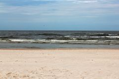 Perfect deserted white sand beach with the Baltic sea. tricolor.  Stock Photos