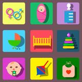 Perfect detailed baby icons Stock Photo