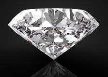 Perfect diamond isolated on black royalty free stock image