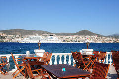 Perfect dinner spot on a terrace in Kusadasi royalty free stock images