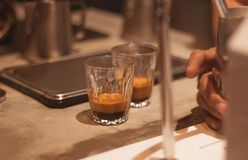 Perfect Double Espresso Shot Royalty Free Stock Photos