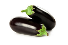 Perfect eggplant. Fresh and perfectly looking aubergines on white background Royalty Free Stock Images