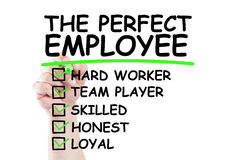 Perfect employee checklist. Write on transparent wipe board by hand holding a marker Royalty Free Stock Photography