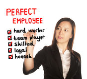 Perfect employee qualifications by business woman Royalty Free Stock Photos