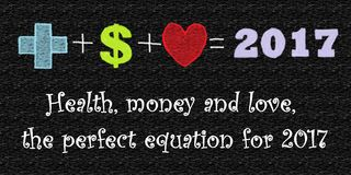 The perfect equation for 2017. With added text. Health, money and love, the perfect equation for 2017. With text included Royalty Free Stock Images