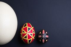 Perfect ethnical handmade easter eggs of different sizes. Decorated with patterns stock image