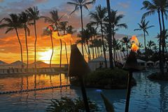 Exquisite sunset from Wailea Resort in Maui. A perfect evening of friends, fresh seafood, pool and seaside drinks, and an exquisite long sunset encapsulated in royalty free stock photography