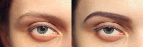 Perfect Eyebrows Before After, two eyes Stock Images